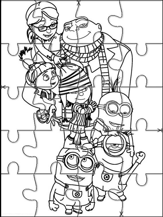Minions puzzles para colorear y recortar | Bebeazul.top