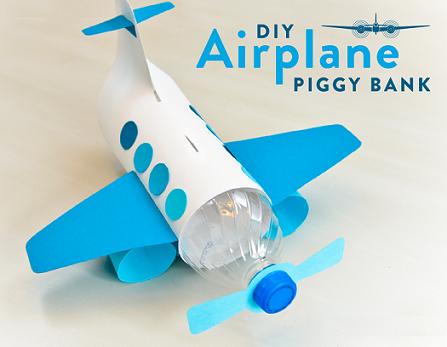 Hucha Y Avión Con Una Botella De Plástico Bebeazul Top