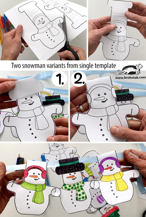 Foto tutorial de guirnaldas de muñecos de nieve para Navidad