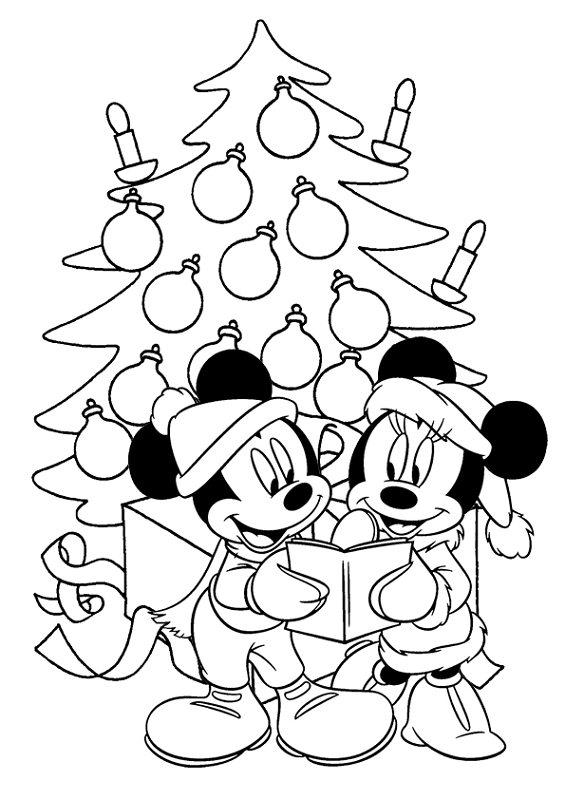 Fichas de Mickey y Minnie Mouse de Navidad para colorear -3