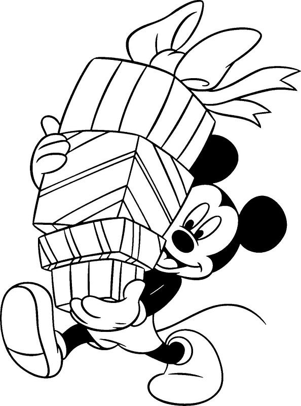 Fichas de Mickey y Minnie Mouse de Navidad para colorear -7
