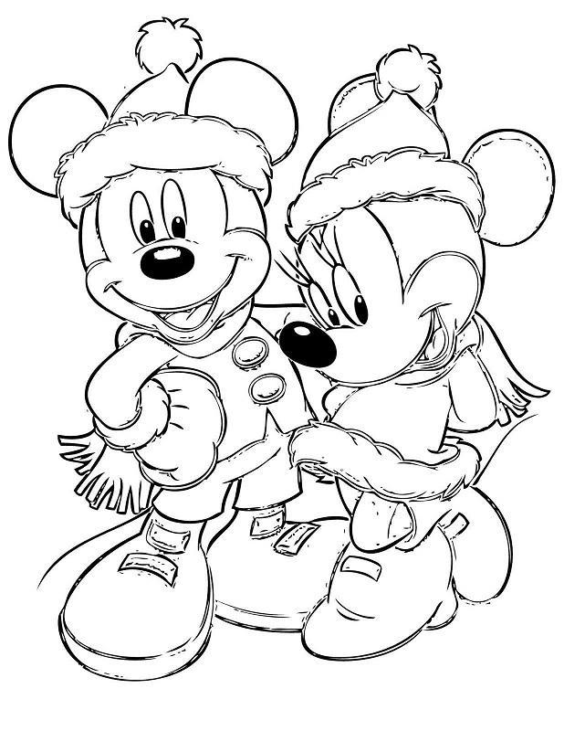 Fichas de Mickey y Minnie Mouse de Navidad para colorear -8