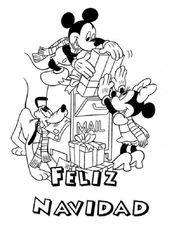 Fichas de Mickey y Minnie Mouse de Navidad para colorear -10