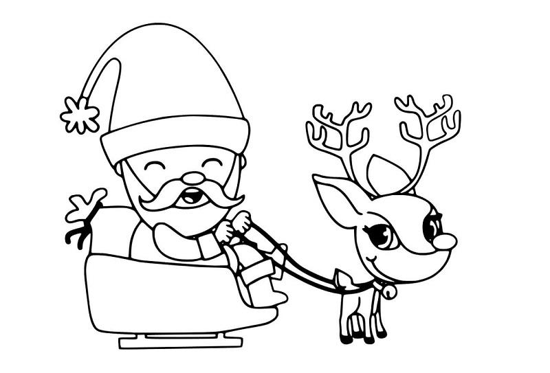 Dibujo 13 para colorear de Papá Noel