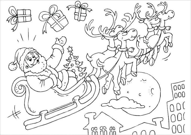 Dibujo 15 para colorear de Papá Noel
