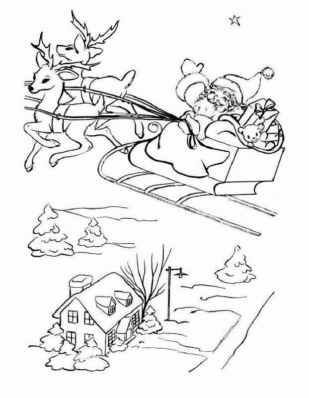 Dibujo 4 para colorear de Papá Noel