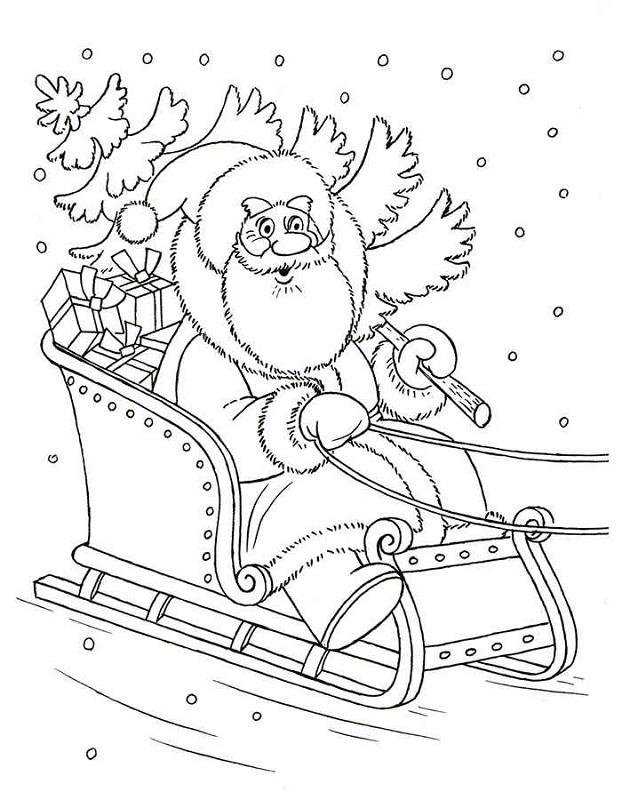 Dibujo 6 para colorear de Papá Noel