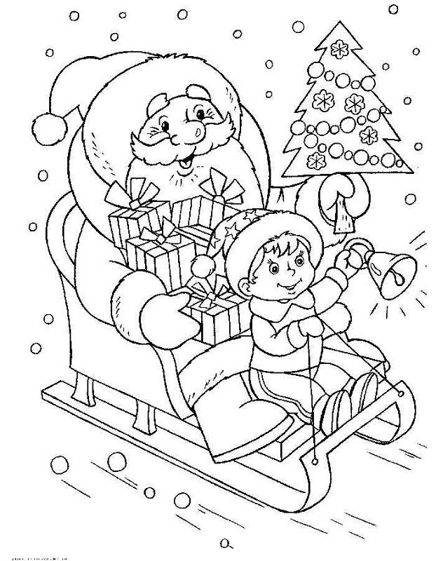 Dibujo 8 para colorear de Papá Noel