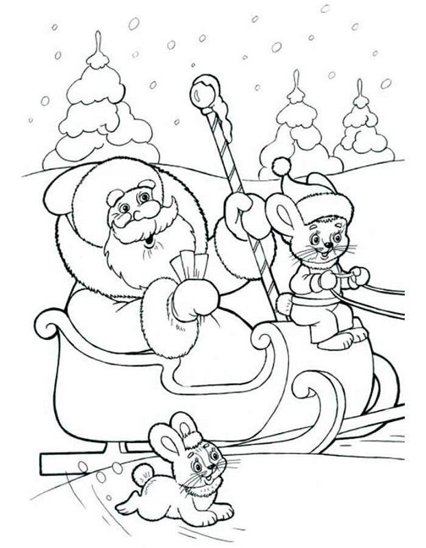 Dibujo 9 para colorear de Papá Noel