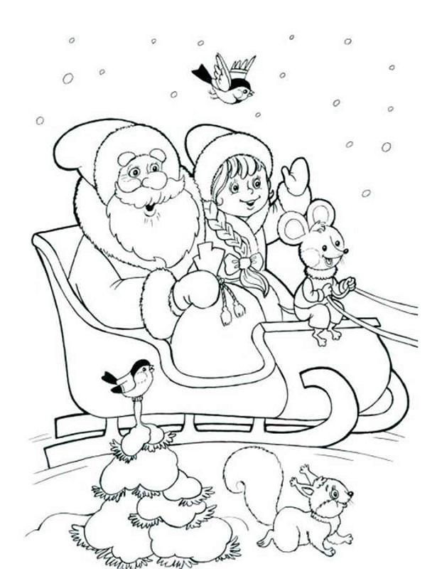 Dibujo 10 para colorear de Papá Noel