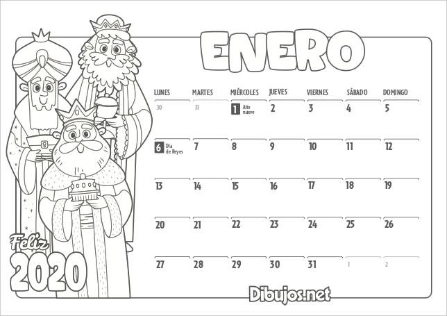 2 Calendarios del 2020 para colorear