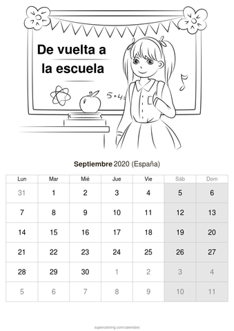calendario infantil