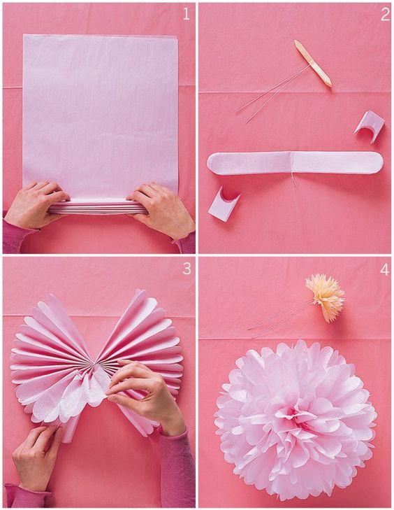 tutorial pompones papel seda