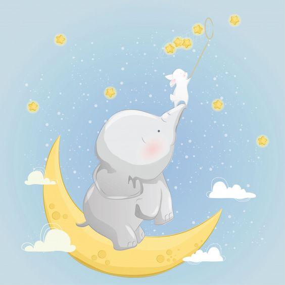 Ilustraciones infantiles imprimibles - Elefantes y Ballenas