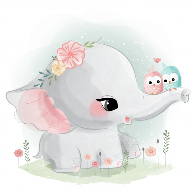 20 Ilustraciones infantiles imprimibles - Elefantes y Ballenas